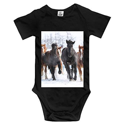 Running Horse Custom Funny Novelty Baby Cotton Bodysuits One-Piece