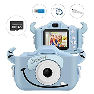 Kids Camera, Enow 16MP Dual Digital Video Camera, DIY Creative Camcorder Child Toys for Boys Girls, Mini 2.0 Inch HD Rechargeable Anti-drop Shockproof Shell, Cartoon Blue (32GB SD Card Included)