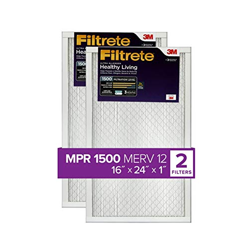 Healthy Living Ultra Allergen MPR 1500 Filtrete 16x24x1 2-Pack AC Furnace Air Filter