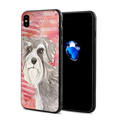 Pink Art Gray Schnauzer iPhone X 10 Phone Case Theme Cover Decorative Ornament Mobile Accessories Ultra Thin Lightweight Shell Pattern Printed Ornament Decorations