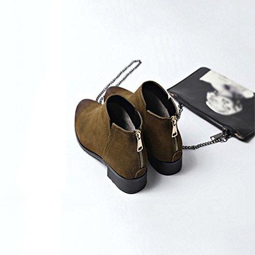 británico rugoso Boots 39 tacón de Scrub Invierno Estilo Short Zapatos Lady F1wIgf