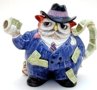Owl Capone Novelty Teapot (Fitz Floyd Teapots)