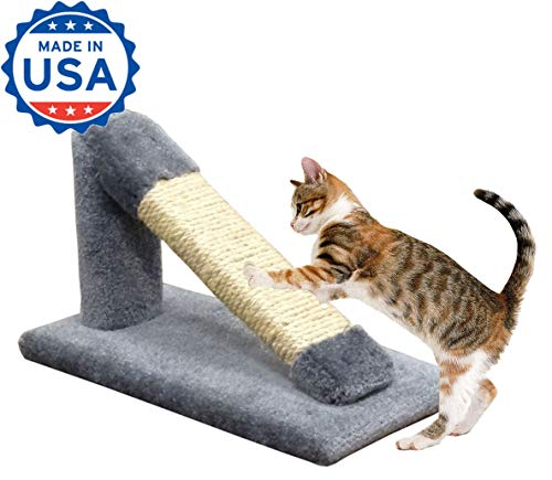 CozyCatFurniture Angled Cat Scratching Post, Made in USA, Solid Wood Poles, Strong Sisal Rope, Gray Carpet