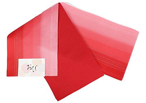 泥だらけ入場地雷原浴衣帯 RZ-1-4 ラメ入り リバーシブル 半幅帯 グラデーション 日本製 (RZ-2 赤色)