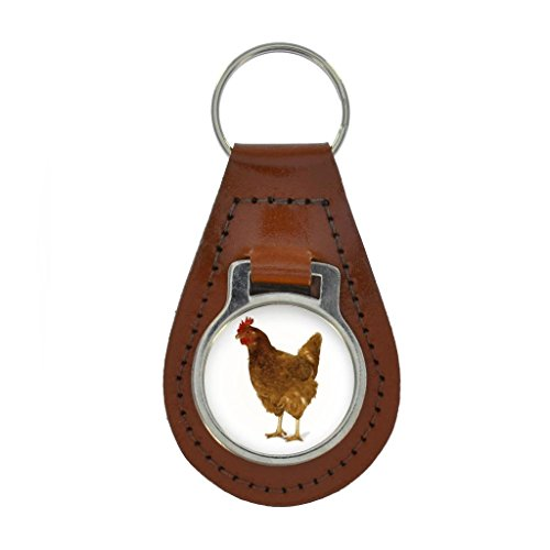 Chicken Image Keyring Gift Boxed - TAN BROWN - Rooster Leghorn Brown
