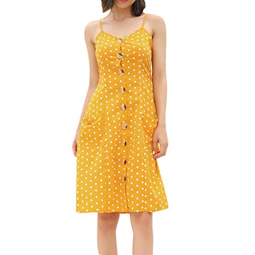 Mikilon Summer Polka Dots Dresses for Women Beach Dress Spaghetti Strap Button Down Belted Midi Dress with Pockets Yellow