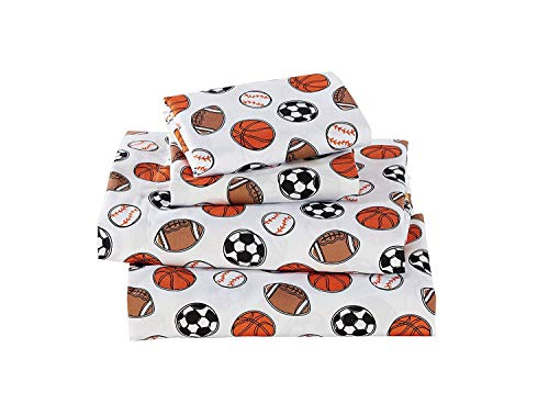 - Fancy Linen 3pc Crib Sheet Set Sport Kids Teens Baseball Basketball Football Soccer White Black Orange Brown Set New