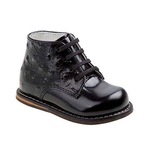 Ostrich Patent - Josmo 2-8 Patent Ostrich Walking Shoes (Black Patent Ostrich, 4)