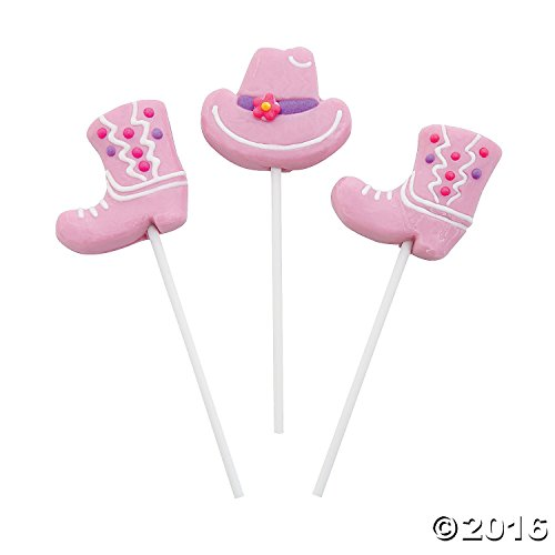 Pink Cowgirl Hats & Boots Frosted Suckers (12 -