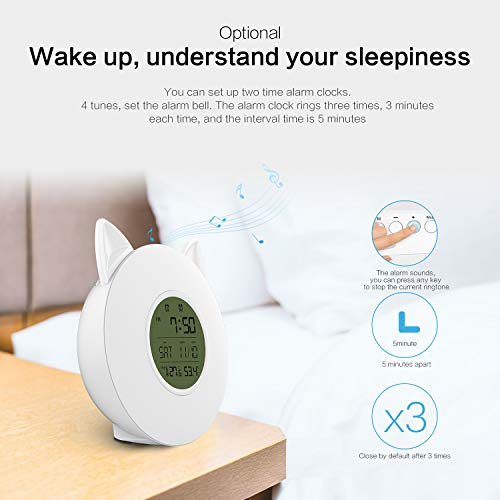 Wake Up Light Alarm Clock - Digital LED alarm Lamp with 7 Changing Colors and FM Radio, 4 Music Sound, Temperature and Humidity Display, Sunrise/Sunset Simulation Lamp for Bedrooms, studies, desks