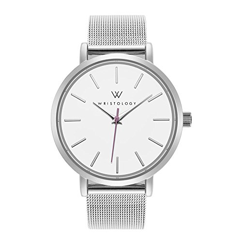 WRISTOLOGY Olivia Womens Lines Silver Boyfriend Watch Metal Mesh Band by Wristology