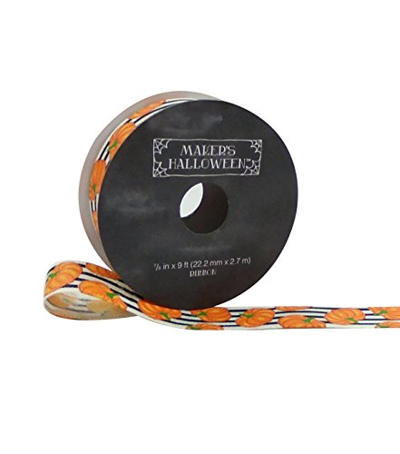 Maker's Halloween Ribbon 7/8''x 9' Pumpkins on Stripes for $<!--$5.89-->