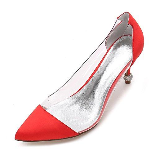 K17767 Femmes Red Bas Mi Sandales talon Cheville Mariage Party L yc Chaussures 38 Prom Taille Strap Nuptiale Dames De q1wxUI
