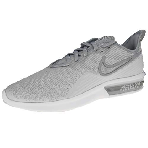 Nike Men's Air Max Sequent 4 Running Shoes (9 M US, White/White/Wolf Grey)