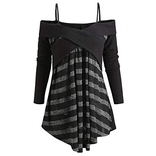 hetti Strap Open Shoulder Crisscross Tunic Pullover Sweater (Black1, L) ()