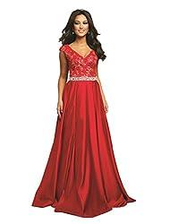 Women's Long Sleeveless Dress with Rhinestone Belt
