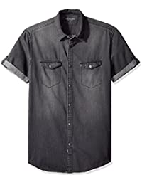 Jeans Men's Short Sleeve Denim Button Down Shirt