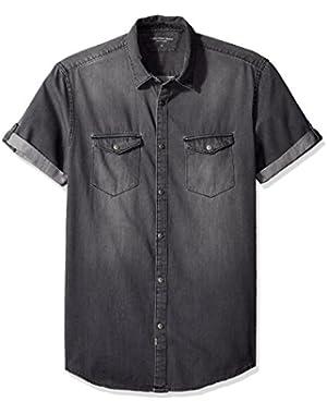 Calvin Klein Jeans Men's Short Sleeve Denim Button Down Shirt