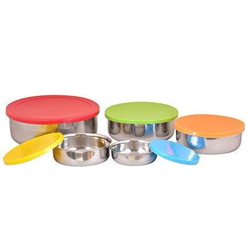 Kosma Set of 5 Storage Bowl Stainles Steel with Airtight ...