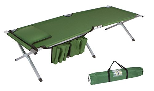 Trademark Innovations 75″ Portable Folding Camping Bed & Cot With Pillow & Side Storage Pocket – 260 lbs. Capacity (Army Green)