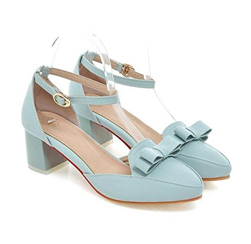 con Cómodo Tacón Boca Sandalias Corte XIE Womens Bowle 37 Casual Light Zapatos 36 Toe Bajo Blue LIGHTBLUE Closed Shallow con Bow XAqgwz