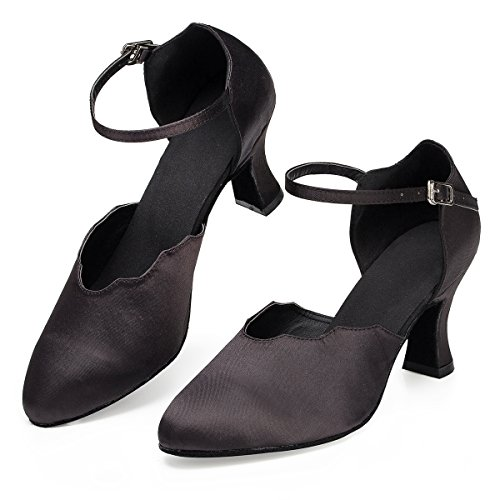 Satin Ladies Miyoopark Black Evening Heel Ballroom Latin Strap Dancing Single Pumps Comfortable 7cm Shoes Prom qHqdwgct