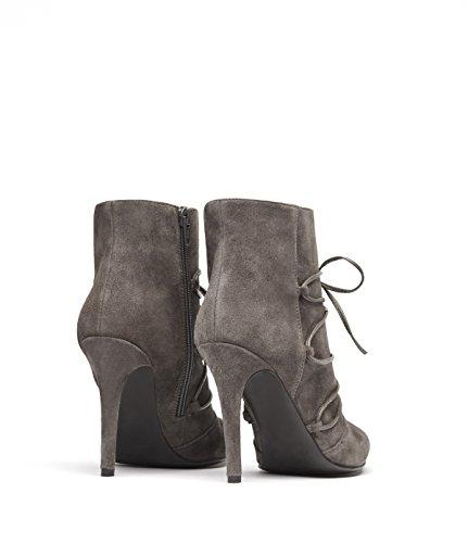 PoiLei Mila - chaussure femme / bottines en cuir à talon aiguille haut - avec bout pointu et design lacé gris-taupe