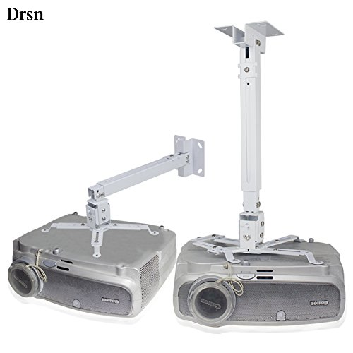 Extendable Ceiling Projector Mount Adjustable Projector Wall Mount Universal Projector Mount White 16-25 inch Thickened Steel for LCD/DLP Ceiling Projector BenQ, ViewSonic, Epson, Optoma, Asus Acer