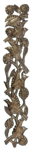 Le Primitif Galleries Haitian Recycled Steel Oil Drum Outdoor Decor, 4 by 23.5-Inch, Vertical Six Birds