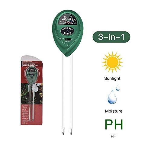 FayTun Soil pH Meter, 3 in 1 Soil Test Kit for Moisture, Light & pH, Gardening Tools for Home, Garden, Lawn, Farm, Plants, Plant Care Soil Moisture Sensor Tester by FayTun
