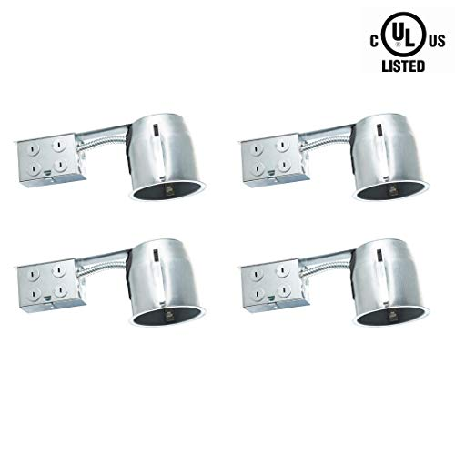 "Otronics 4 Pack 4 Inch Led Recessed Light Can, Led Housing Can, New Construction Air Tight IC Rated 4"" Can Light Housing, UL Listed Recessed Lighting Kit with E26 Connector"