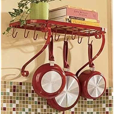 VDOMUS Square Grid Wall Mount Pot Rack, Bookshelf Rack with 10 Hooks, Kitchen Cookware, 24 by 10-inch, Red