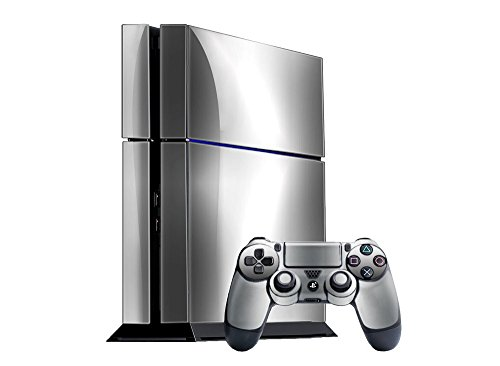 Sony PlayStation 4 Skin (PS4) - NEW - SILVER CHROME MIRROR system skins faceplate decal mod by System Skins