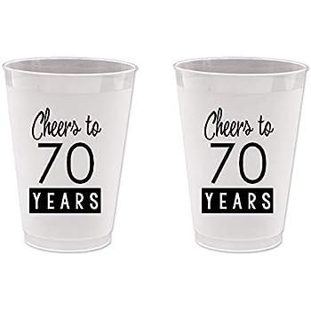 Amazon.com: 70º cumpleaños Frost Flex vasos de plástico ...