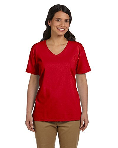 HN LAD COMFRT SOFT VEE NECK T (DEEP RED) ()