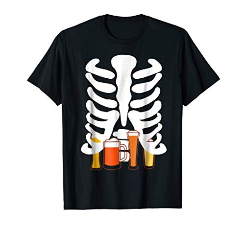 Mens Craft Beer Hops t-shirt Halloween costume skeleton belly -