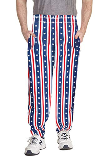 Arvilhill American Flag Men July 4th Party Long Loose Pajama Star Stripe Summer Casual Lounge Pants 2XL