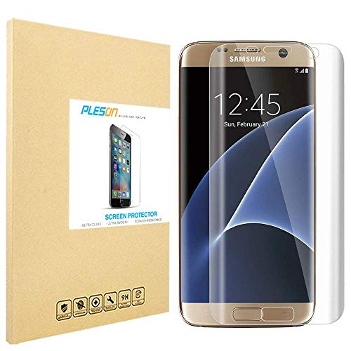 PLESON Galaxy S7 Edge Screen Protector [Full Coverage], [3D Full Curved Edge] Screen Protector for Samsung Galaxy S7 Edge [Edge to Edge] [2-Pack] Extreme Clarity