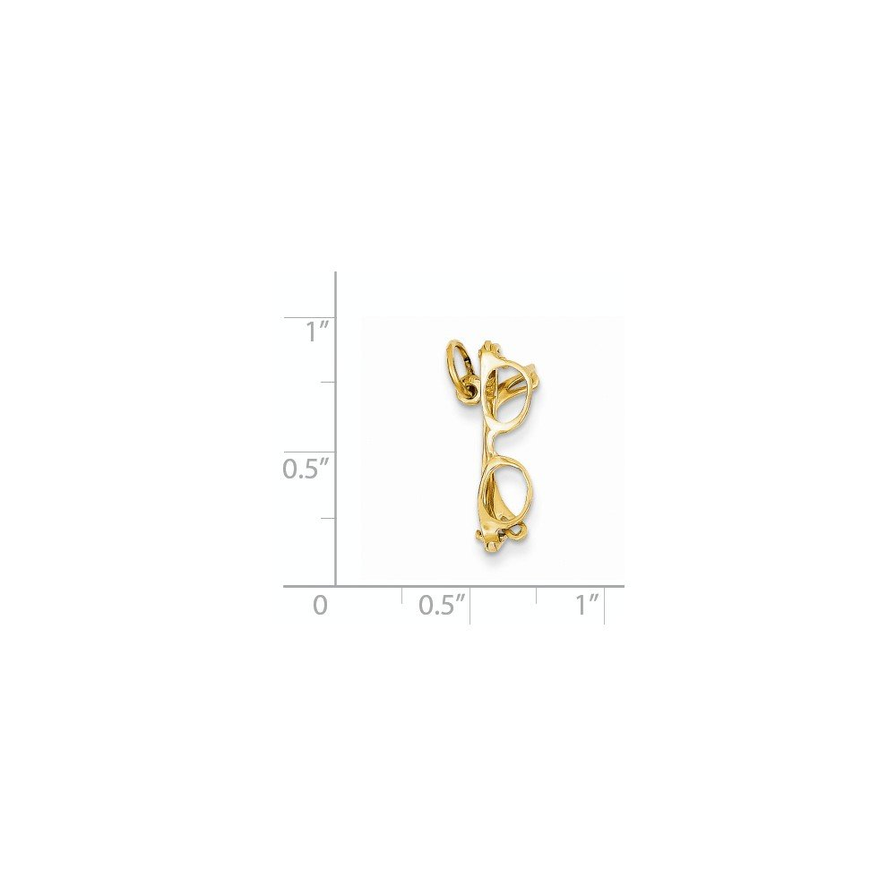 14ct Yellow Gold Solid Polished Glasses Charm Charms Measures 11.7x20mm