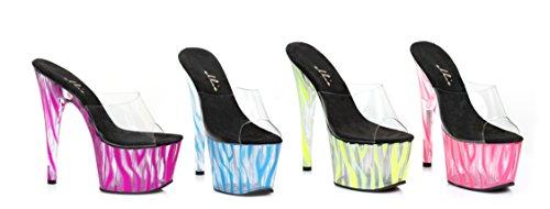 Ellie Zapatos E-709-zebra 7 Pulgadas Mula Con Blacklight Zebra Patrón Púrpura