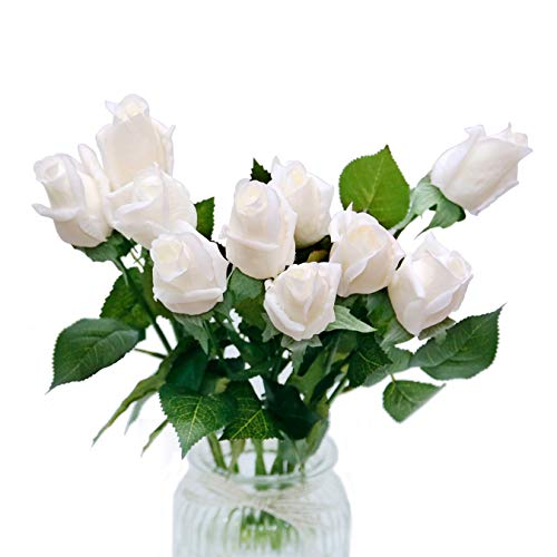 - DuHouse 10pcs Artificial Silk Roses Fake Real Touch Flowers Faux Bridal Bouquet for Wedding Home Garden Decor (White Real Touch)