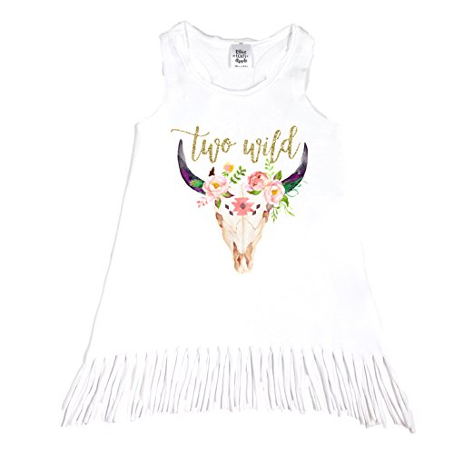 Olive Loves Apple Boho 2nd Birthday Outfit Girl Gold Two Wild Bull Skull Outfit for Toddler Girls