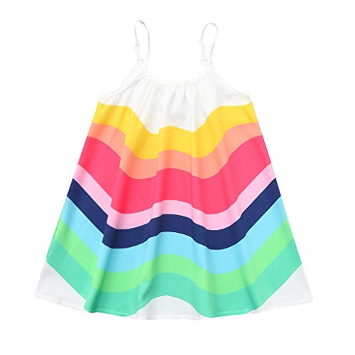 Lavany Little Girls Swing Dress, Cute Sleeveless Rainbow Sling Dresses for 1-5 Year