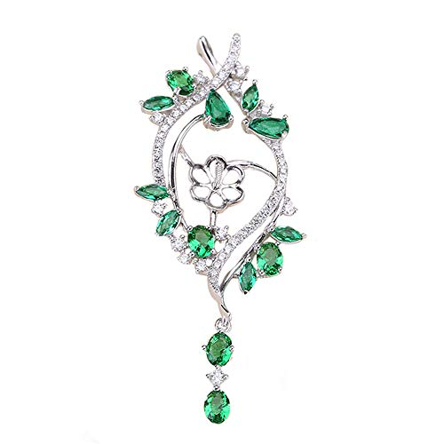 HENGSHENG 1 Piece 925 Sterling Silver Pearl Pendant Fitting Green Zircon Rhinestone Flower Pendant Mounting Jewelry Accessories(DO NOT Include Pearls)