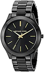Black ion plated stainless steel case and bracelet. Fixed black ion plated bezel. Black dial with gold tone hands and index hour markers. Dial Type Analog. Quartz movement. Scratch resistant mineral crystal. Pull push crown. It is scratch res...