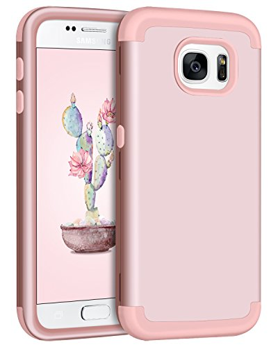 Galaxy S7 Case, Samsung S7 Case, BENTOBEN 3 Layers Slim Hybrid Heavy Duty Shockproof Hard PC Cover Soft Silicone Rubber Bumper Full Body Protective Girly Phone Cases for Samsung Galaxy S7 Rose Gold