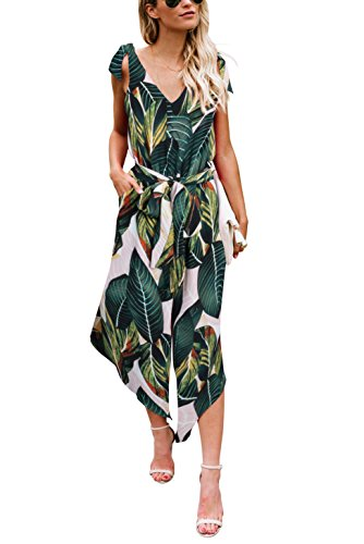 BELONGSCI Women Outfit Sleeveless Shoulder Bandage Waistband Sexy V-Neck Wide Leg Long Jumpsuit with - Tropical Womens Print Dress