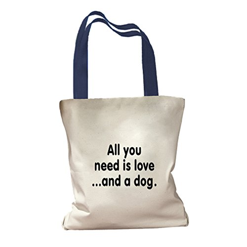 All You Need Is Love And A Dog #1 Canvas Colored Handles Tote - Royal Blue by Style in Print (Image #1)