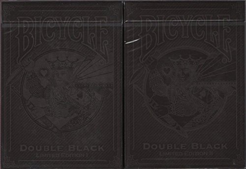 Double Black Limited Edition 2 Deck Set Bicycle Playing Cards Poker Size Deck by Bicycle
