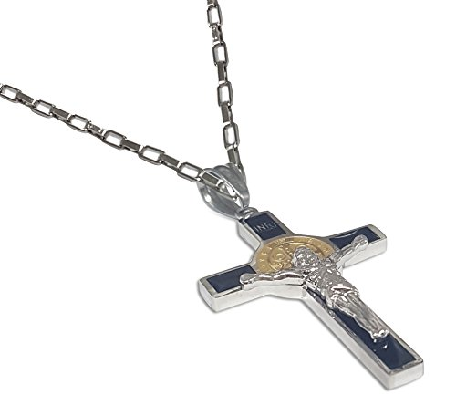 (Unique Saint Benedict Crucifix - Two Tone Gold and Silver Color Stainless St Benedict Cross Necklace (Black))